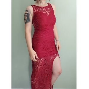 Romantic Maroon Lace Evening Gown